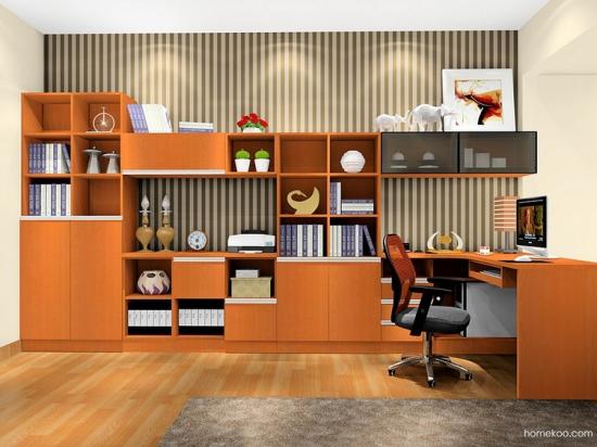 紫色衣柜和电脑转角桌