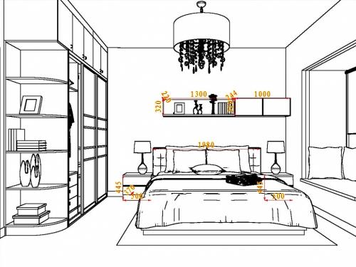 14-18平方美式田园风格卧室家具装修效果图套餐a10106