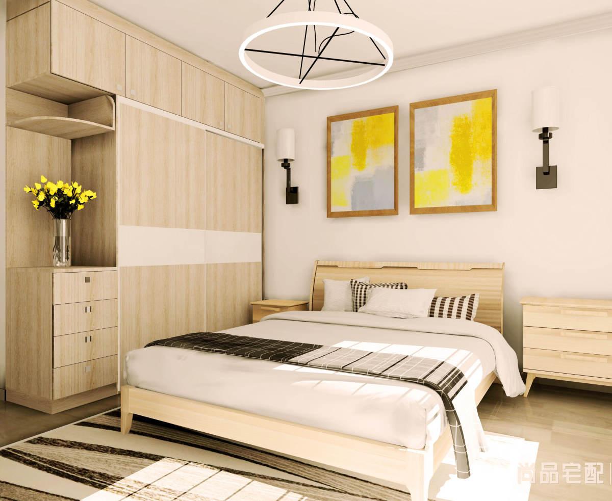 现代简约原木色卧室床装修效果图